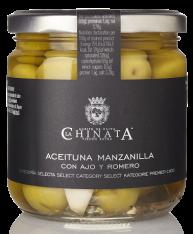 Olives Manzanilla à l'ail et au romarin La Chinata