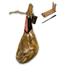 Jambon serrano espagnol blanc gras cave grande réserve spéciale Revisan + porte jambon + couteau