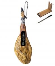 Jambon Pata Negra 100% ibérique pur nourri de glands Altadehesa + support à jambon + couteau