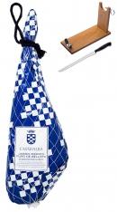 Jambon pata negra ibérique entier pur 100 % nourri aux glands Casa de Alba + support à jambon + couteau