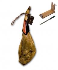Jambon pata negra ibérique nourri de glands certifié Revisan + porte jambon + couteau