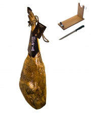 Jambon pata negra ibérique nourri au gland Don Agustin Qualité Supérieure entier + porte jambon + couteau