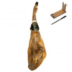 Jambon pata negra ibérique nourri au gland Dehesa Casablanca + porte jambon + couteau