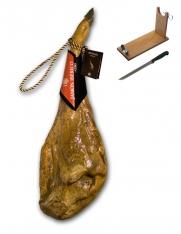 Jambon pata negra ibérique nourri au grain certifié Revisan + porte jambon + couteau