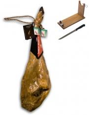 Jambon pata negra ibérique de porc nourri en pâturages Guijuelo Revisan + porte jambon + couteau