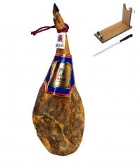Jambon serrano espagnol naturel D.O. Teruel Jamones Pastor + support à jambon + couteau