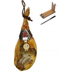 Jambon serrano espagnol réserve Mayoral entier + support à jambon + couteau