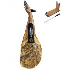Jambon Pata Negra 100% ibérique (Épaule) pur nourri de glands Altadehesa + support à jambon + couteau
