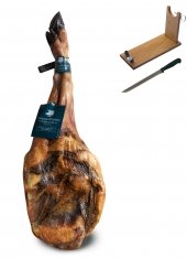 Jambon Pata Negra Ibérique (Épaule) nourri de glands Sánchez Romero Carvajal + support à jambon + couteau