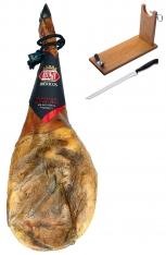 Jambon pata negra ibérique (Épaule) de porc nourri en pâturages certifiée Revisan + porte jambon + couteau
