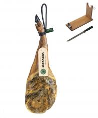 Jambon Pata Negra ibérique (épaule) nourri en pâturages Altadehesa + support à jambon + couteau
