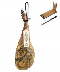 Jambon Pata Negra ibérique (Épaule) nourri au grain Altadehesa + support à jambon + couteau
