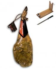Jambon pata negra ibérique (Épaule) nourri en pâturages certifiée Revisan + porte jambon + couteau