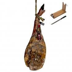 Jambon pata negra ibérique (Épaule) nourri en pâturages entière Arturo Sánchez + porte jambon + couteau