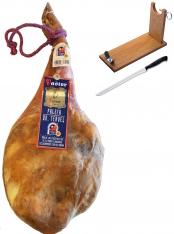 Jambon serrano espagnol (Épaule) naturel D.O. entier Jamones Pastor + support à jambon + couteau