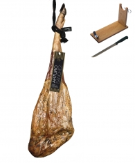 Jambon pata negra ibérique 100% pur nourri de glands grande réserve spéciale Arturo Sanchez + porte jambon + couteau