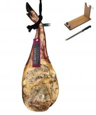 Jambon pata negra ibérique (Épaule) nourri au grain entier Arturo Sánchez + porte jambon + couteau