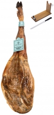 Jambon pata negra 100% ibérique nourri de glands Sánchez Romero Carvajal + support à jambon + couteau