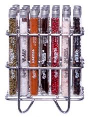 Set de 21 Tubes en verre avec des sels, des épices et des herbes Premium sur un support en acier inoxydable